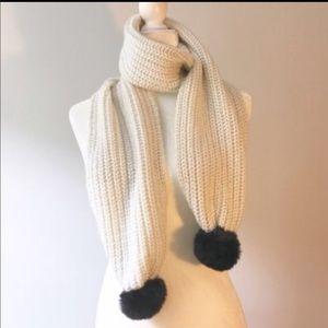 Kate Spade Cream & Black Luxe Fur Knit Scarf